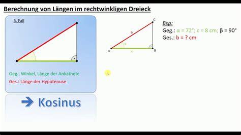 laengen berechnen im rechtwinkligen dreieck tan sin