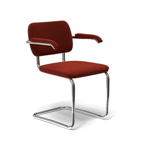 Stuhl Marcel Breuer by Cesca Chair With Arms Upholstered Knoll Rust