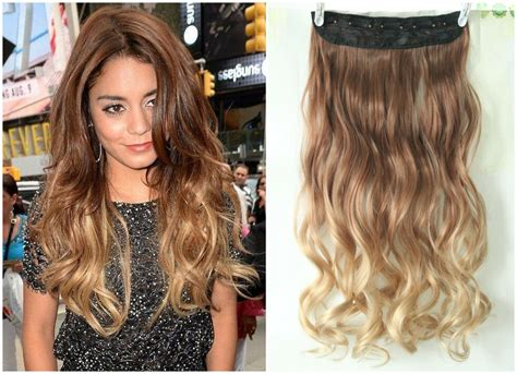 Dip Dye Clip In On Ombre Hair Extensions Synthetic Light