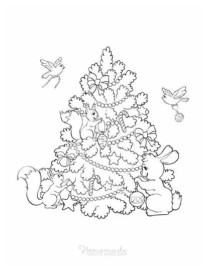 Coloring Tree Printable Sapin Noel Coloriage Animaux