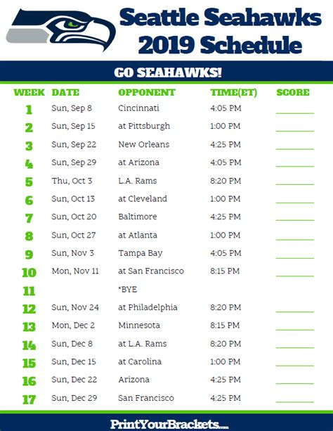 printable seattle seahawks schedule  season
