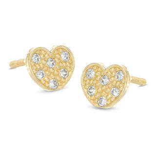 childs cubic zirconia heart stud earrings   gold