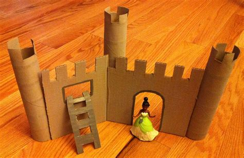 Castle Made From Flat Pieces Of Cardboard And Paper Towel
