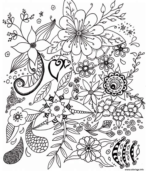 printemps fleurs adulte coloriage dessin   fia