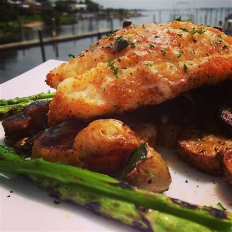 caper parmesan grilled grouper asparagus fingerling crusted served potato finished lemon hash side yum lunchtime sauce