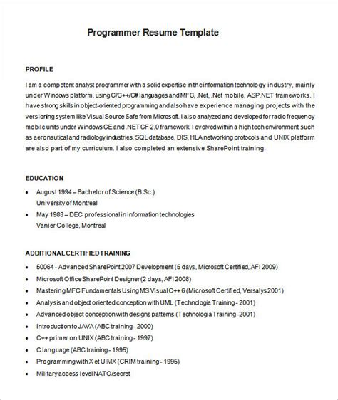 Programmers Resume by Programmer Resume Template Free Excel Templates