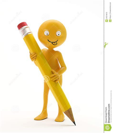 smiley bureau smiley retenant un crayon photo stock image 24074610