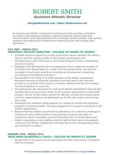 Sle Athletic Resume by Assistant Athletic Director Resume Sles Qwikresume