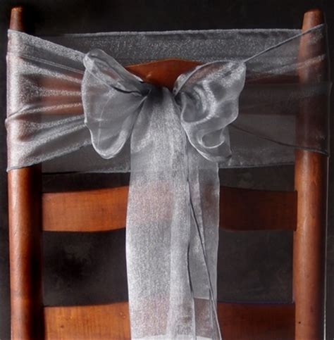 silver organza chair sashes bows table runners 6 5in