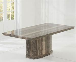 Carvelle 200cm Brown Pedestal Marble Dining Table The