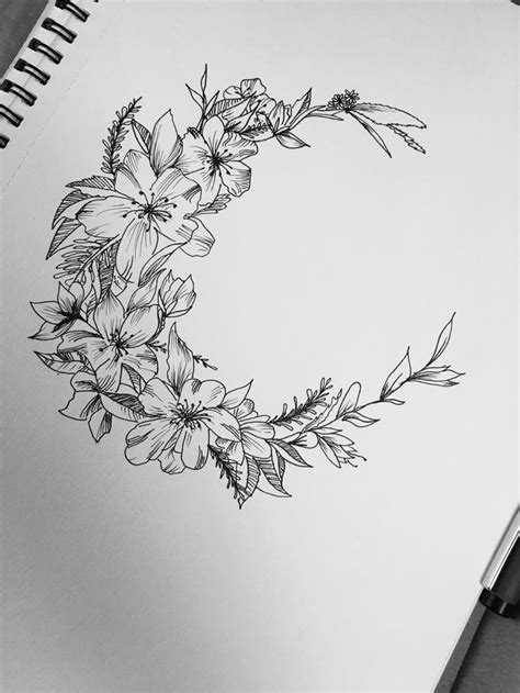 Floral Crescent Moon Tattoo Design Idea