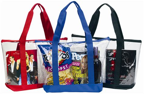 large clear tote bag  zipper closure front pocket