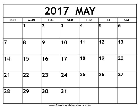 free blank calendar template may 2017 printable calendar free calendar printable free