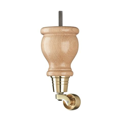 wooden sofa leg mm mm natural gloss brass