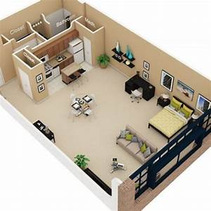 Studio apartment 3d floor plan google search navy hot for Studio apartment floor plans 3d