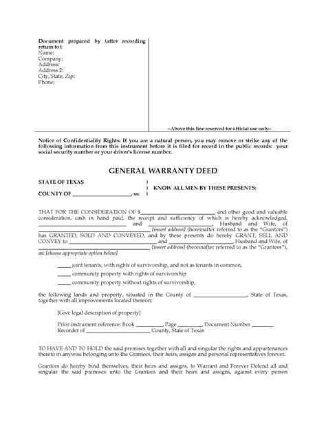 texas property deed form texas general warranty deed for joint ownership legal