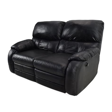 black leather reclining sofa 68 off black leather reclining 2 seater sofas