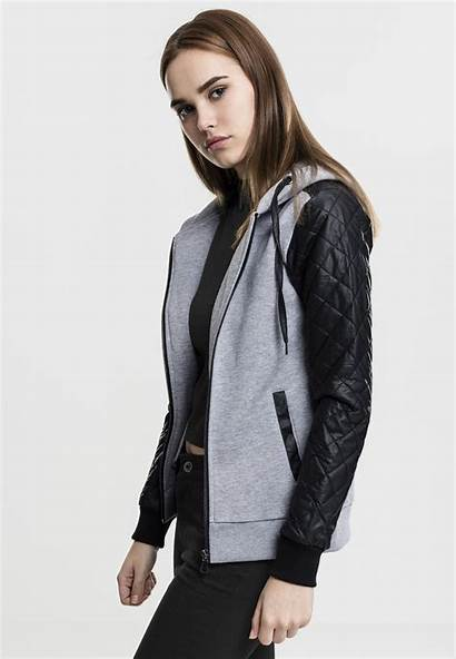 Hoodie Leather Damen Sleeve Ladies Hoody Imitation