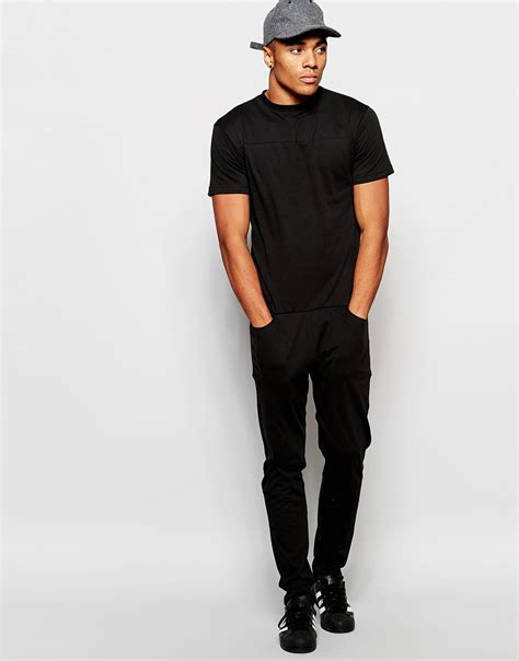 jumpsuit mens asos drop crotch jumpsuit in black in black for lyst