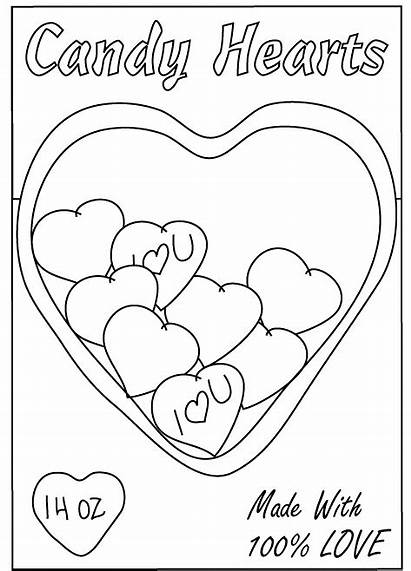 Coloring Valentine Heart Pages Valentines Candy Hearts