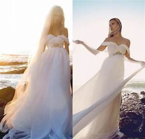flowing chiffon beach wedding dresses 2015 off shoulder With flowing beach wedding dresses