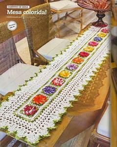 Crochet En S : free crochet table runner pattern colorful flowers ~ Nature-et-papiers.com Idées de Décoration