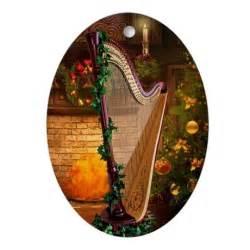 christmas harp ornament oval by harpbazaar