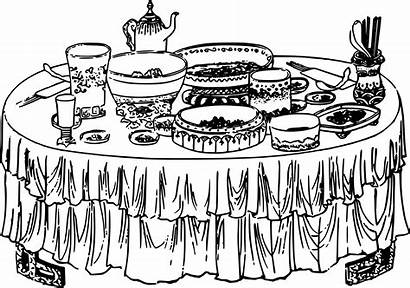 Buffet Table Clipart Drawing Lunch Transparent Cartoon