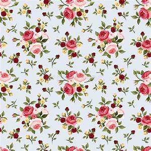 Vintage Seamless Pattern With Pink Roses On Blue. Vector ...