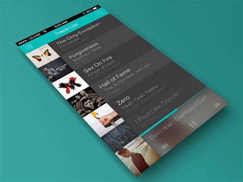 track list  sidebar  images app design