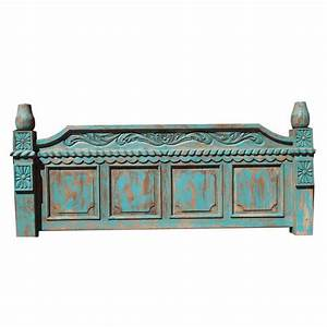 Hand Made Turquoise Rustic Bed With Hand Carved Detail by