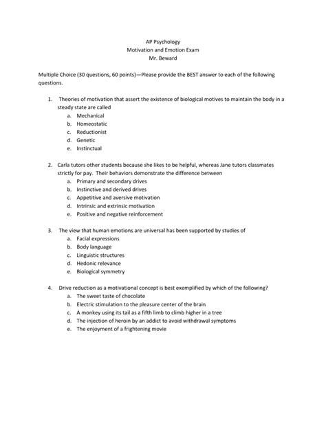 motivation  emotion psychology test chapter