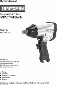 Craftsman 875191183 User Manual Impact Wrench Manuals And