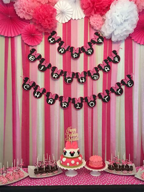 Diy Backdrop Decorations by Minnie Mouse Birthday Dessert Table And