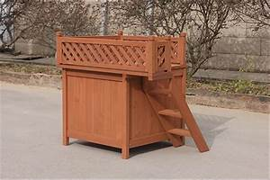 Cheap price good style wooden dog house kennel with stairs for Extra large dog houses for cheap