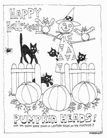 Halloween Coloring Printable Crafts Happy Colour Sheets