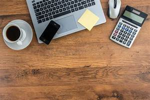 Laptop, Mobile, Phone, And, Coffee, Cup, On, Work, Desk, Stock, Photo