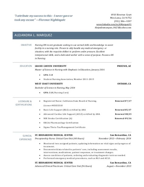 Exle Of Resume For Newly Registered Nurses by New Grad Rn Resume
