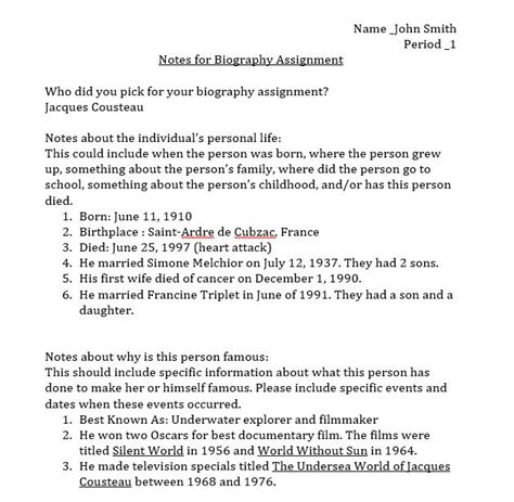 biography report middle school computer projects