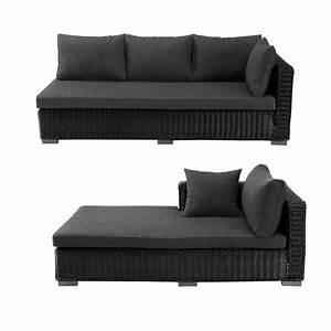 Canapé d'angle d'extérieur en résine tressée noire cendre