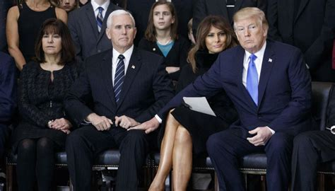 trump pence melania donald mike thigh touches karen wedding hand moments awkwardly anniversary touch during awkward president crossed pool newshub