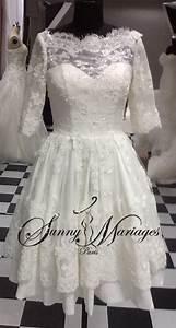 Robe Courte Mariée : robe de mariee courte en dentelle manches 3 4 bustier coeur sunny mariage ~ Melissatoandfro.com Idées de Décoration