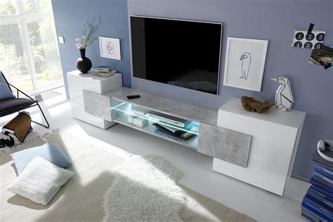 white plasma tv stands meuble tv design blanc laqué gris béton richie meubles