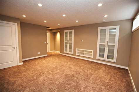 Large Basement Space With Minimalist Themed Using Grey