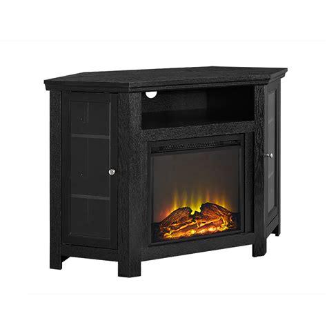 jackson   corner fireplace tv stand black