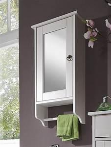 Bad Spiegelschrank 39x74x16cm Mit Handtuchhalter Kiefer