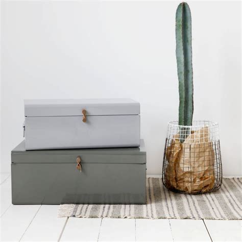 House Doctor Boxen by House Doctor Storage Box Set Of 2 Grey Green Metal