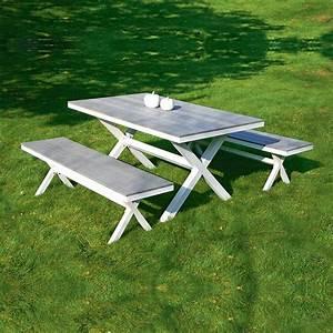 Table Et Banc De Jardin : salon de jardin table et 2 bancs wallas dya ~ Melissatoandfro.com Idées de Décoration