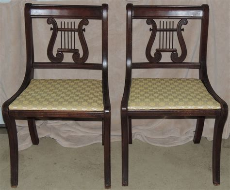 Lyre Back Folding Chairs by Duncan Phyfe Style Lyre Back Side Chairs Collectors Weekly