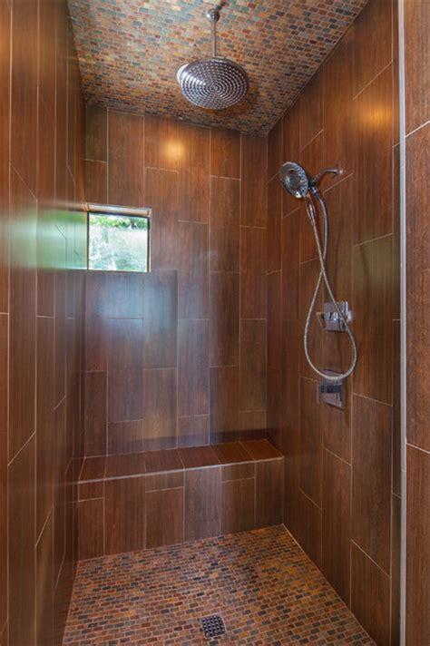 master shower wood  ceramic tile lake travis